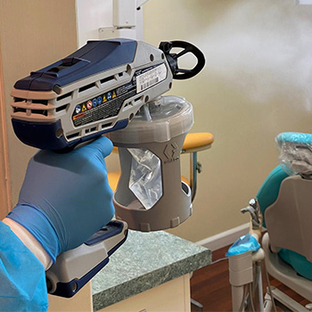 Fogging to disinfect office after every patient